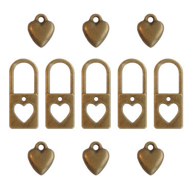Ken Oliver Vintage Lock My Heart Charms