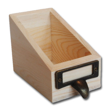 Ken Oliver Wood Library Card Box - #2 Size