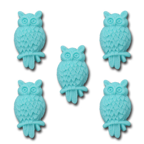 Wise Owl Resin Charm - Sea Blue