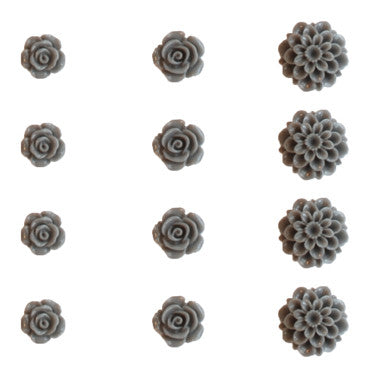 Resin Flower Set - Cool Grey
