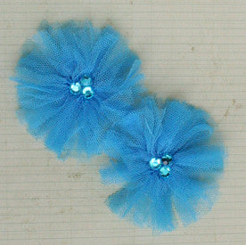 Tu-Tu Tulle Flowers - Sea Blue