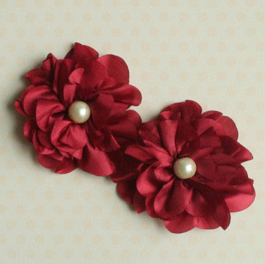Satin Scallop Edge Blooms - Crimson