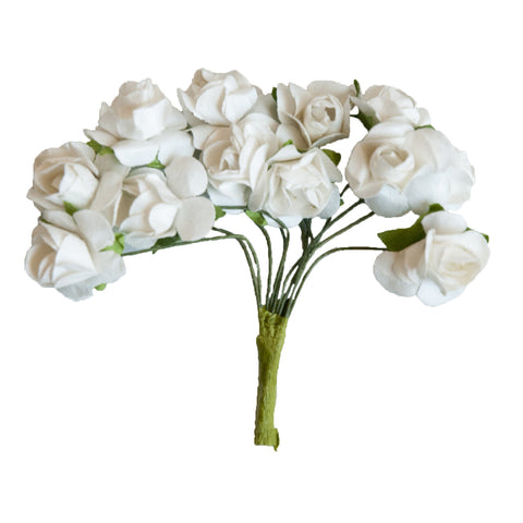 Small Vintage Paper Flowers - White