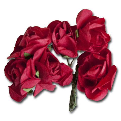 Medium Vintage Paper Flowers - Red - Bulk