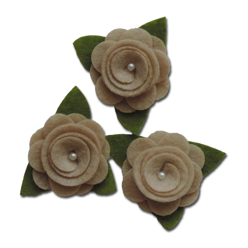 Felt Roses - Taupe