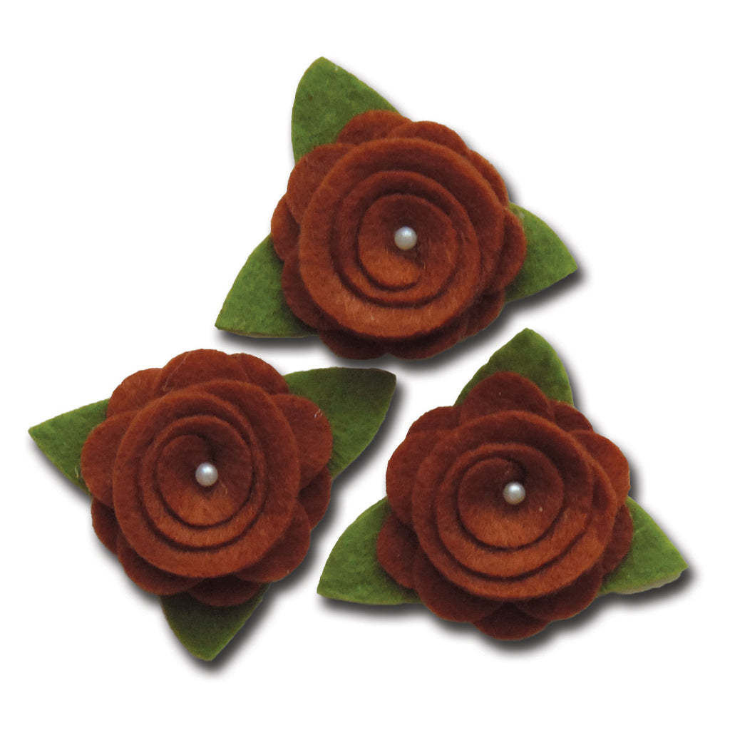 Felt Roses - Chocolate Brown
