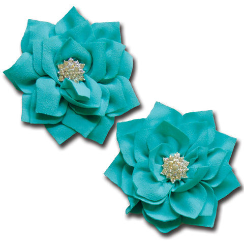 Shimmering Pointed Petal Flower - Turquoise Blue