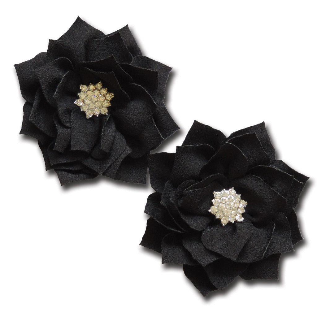 Shimmering Pointed Petal Flower - Emo Black