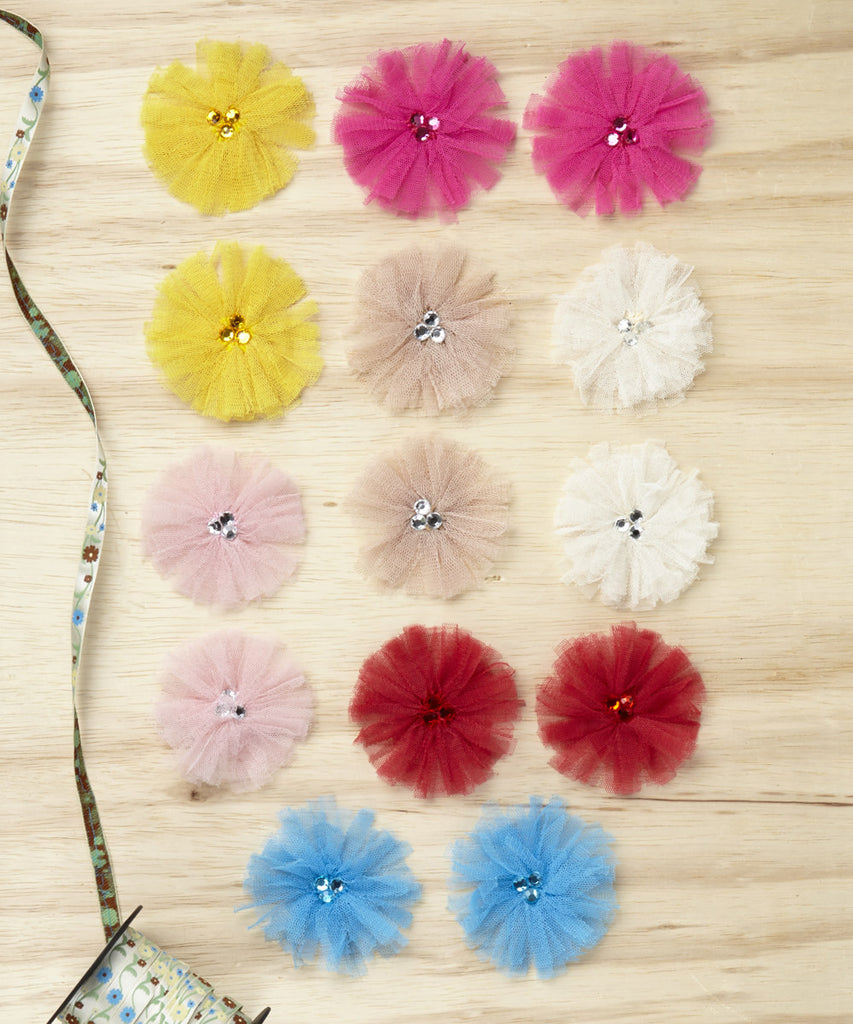 Tu-Tu Tulle Flower Pack (Buttermilk, Cherry, Canary, Sea, Hibiscus, Beige, and Ballerina)