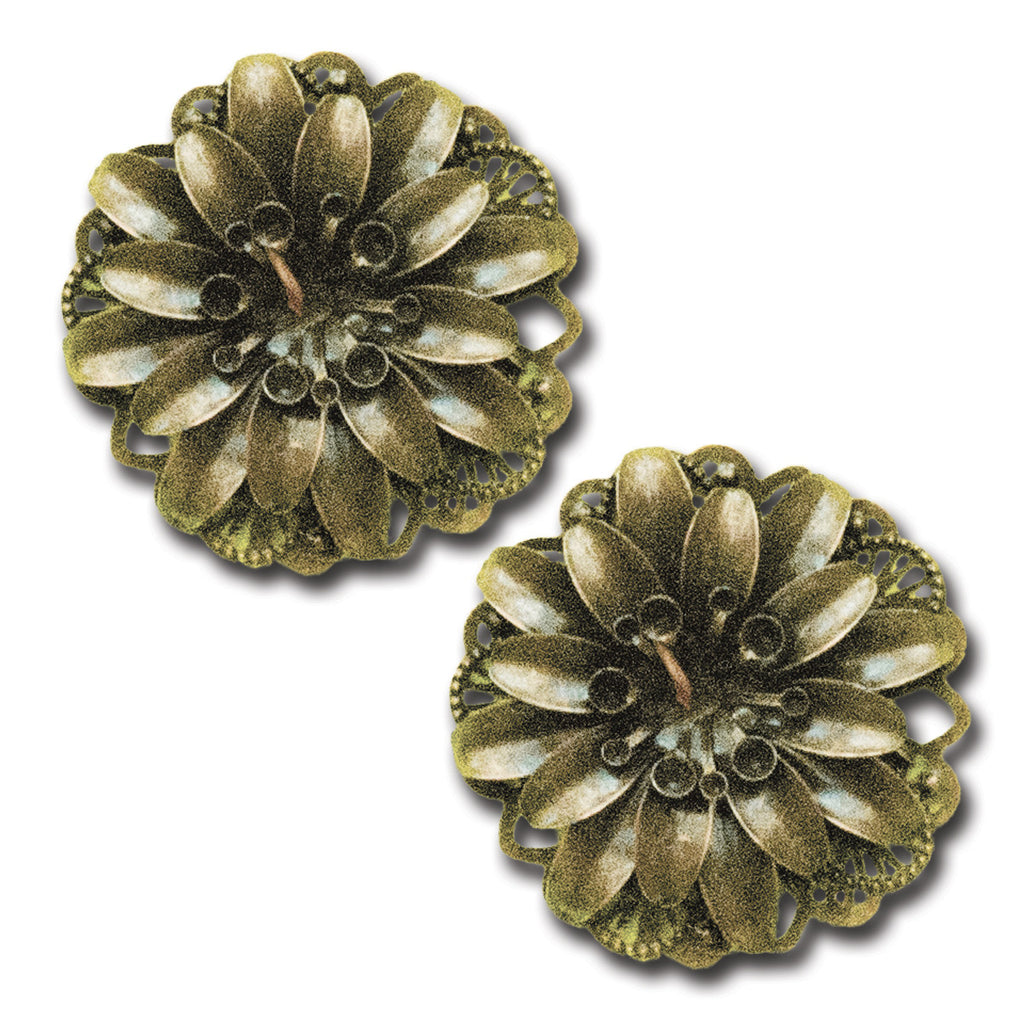 Embossed Metal Flower Embellishment