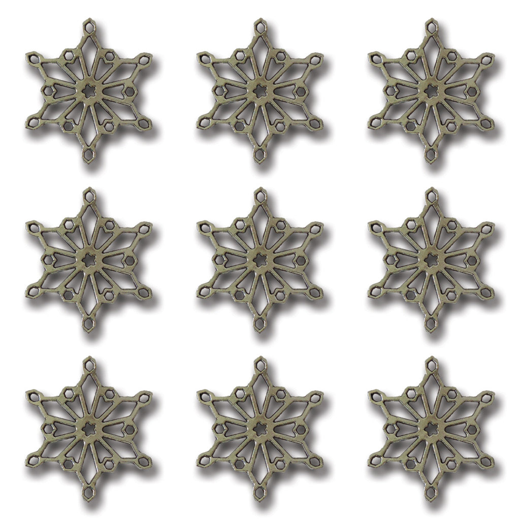 Silver Snow Crystal Charms
