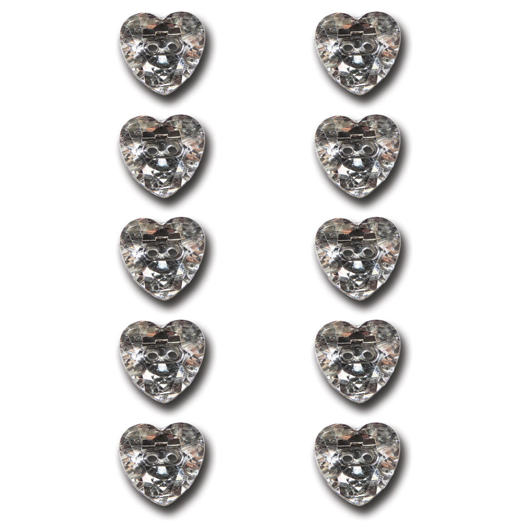 Crystal Heart Buttons