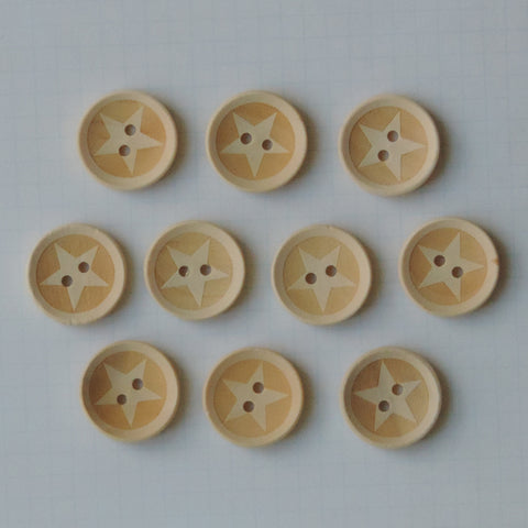 Lucky Star Wood Buttons