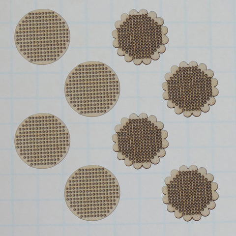 Vintage  Wood Stitch Scallop & Circle Charms - Bulk