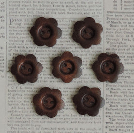 "1"" Stained Wood Flower Buttons"