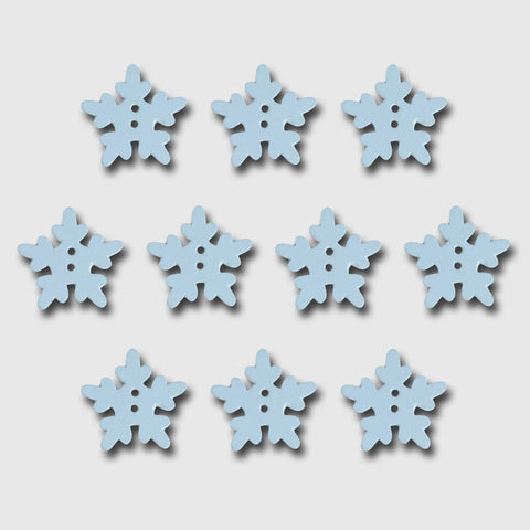 Wood Snowflake Buttons - White