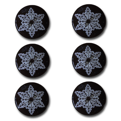 Etched Snowflake Wood Buttons