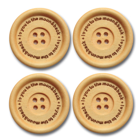"""I ♥ You To the Moon and Back"" Wood Buttons - Cream"