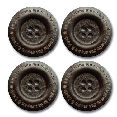 """I ♥ You To the Moon and Back"" Wood Buttons - Dark Chocolate"