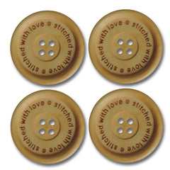 """Stitched With Love"" Wood Buttons - Cream"