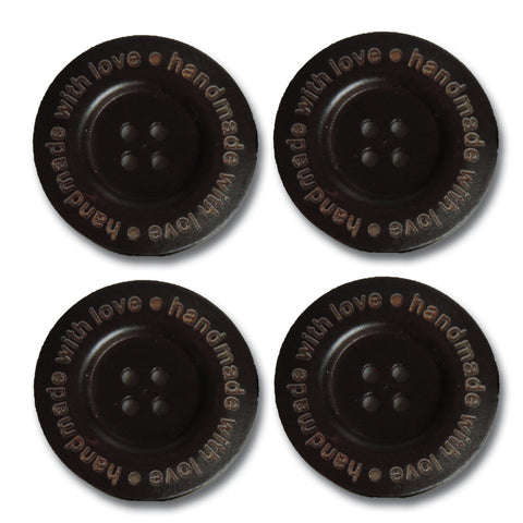 """Handmade With Love"" Wood Buttons - Dark Chocolate"