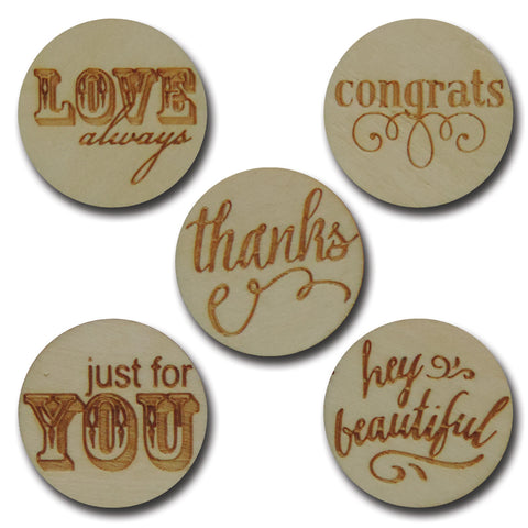 Wood Thoughtful Sentiments Tokens