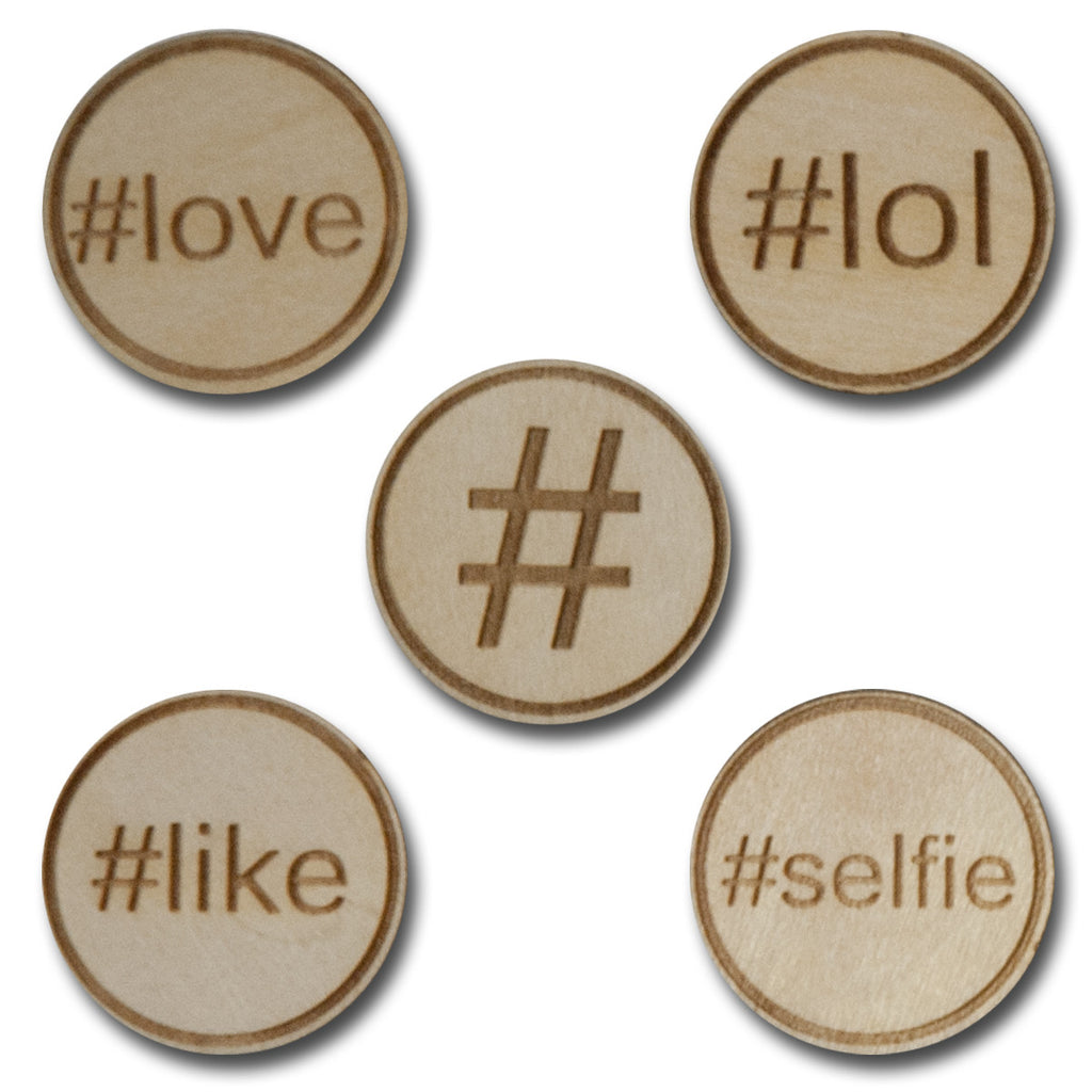 Wood Hashtag Tokens