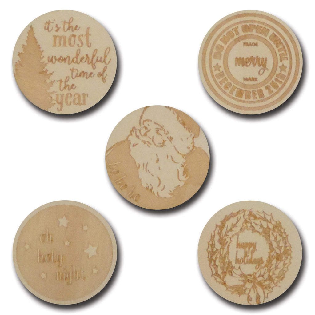 Wood Jolly Christmas Tokens