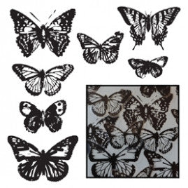 Vintage Butterfly Transparency Pieces - Black - Bulk