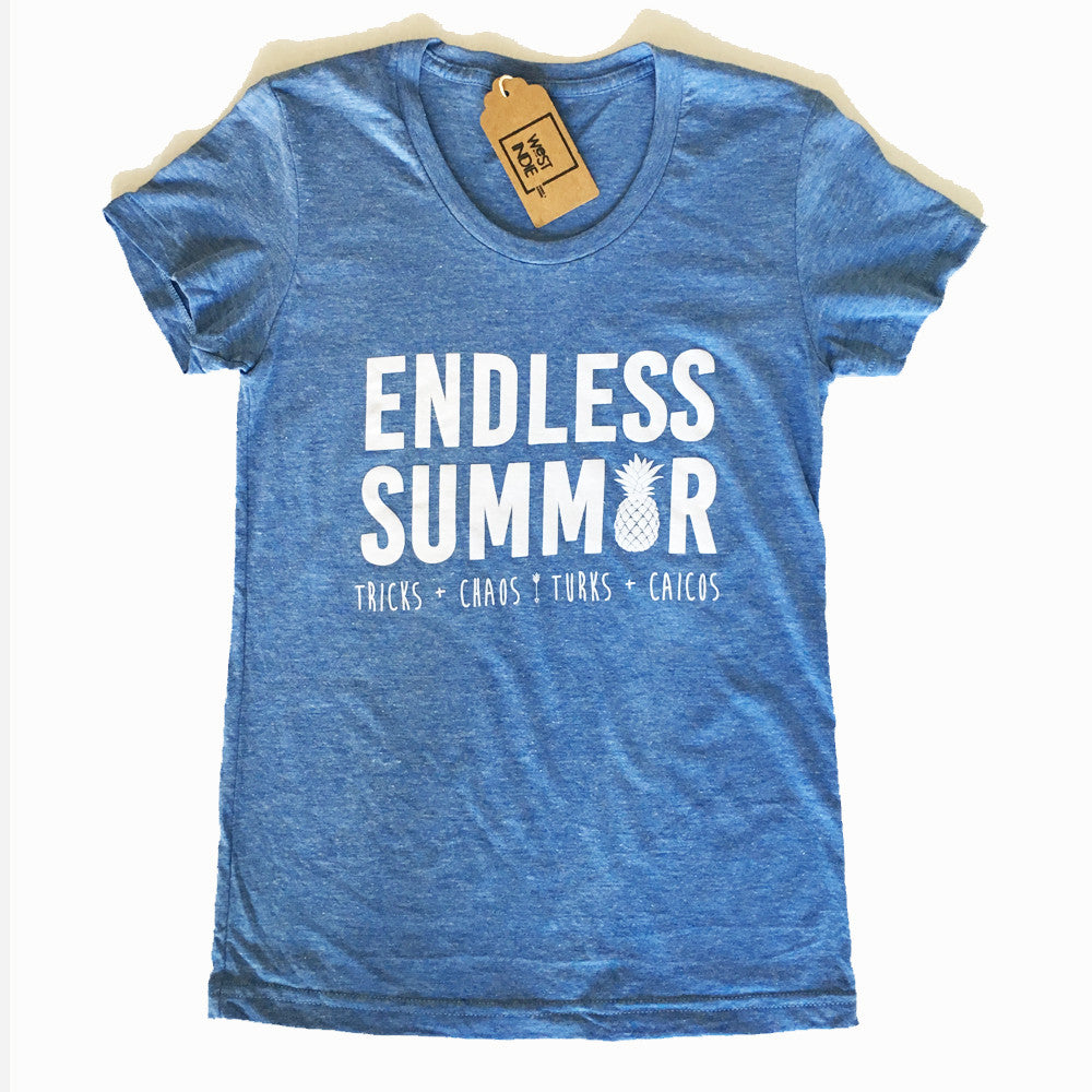 WOMEN'S ENDLESS SUMMER TEE ~ LIGHT BLUE