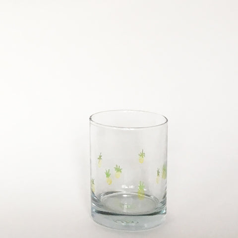 HAND PAINTED GLASS TUMBLER ~ PINEAPPLES