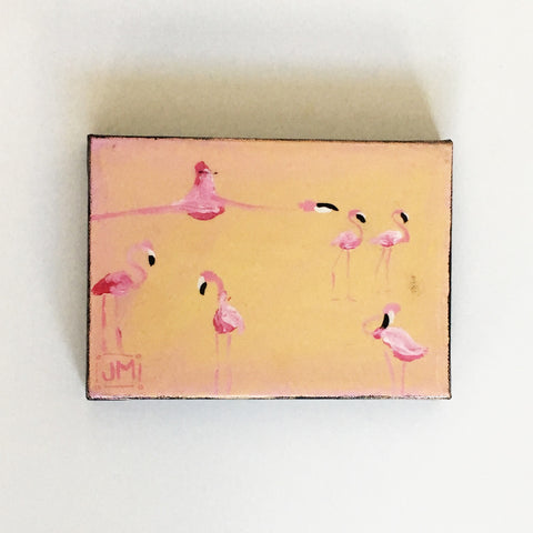 FLAMINGO PAINTING 5X7