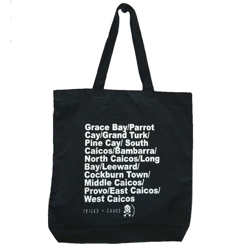 WEST INDIE ORGANIC COTTON TOTE ~ BLACK