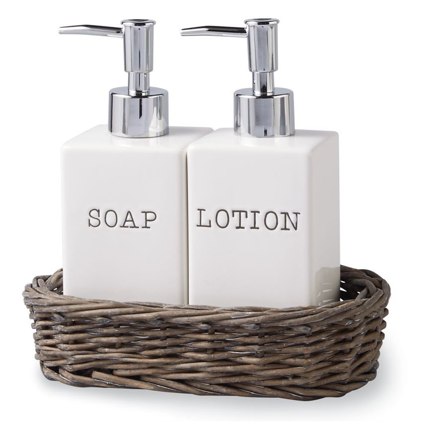 Soap Lotion Willow Basket Set Roots Farm Timber