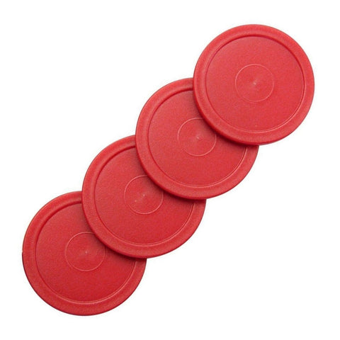 "4 Small Red Home Air Pucks for Table Hockey 2 1/2 inch 2.5""."