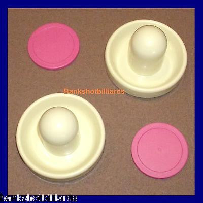 2 Almond Table Hockey Paddles + 2 Pink Home Air Pucks ( parts)