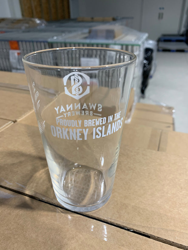 Swannay Brewery conical pint glass 2020 (nucleated)