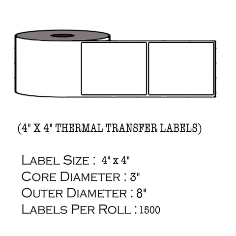 "4"" x 4"" Thermal Transfer Labels - 3"" Core"
