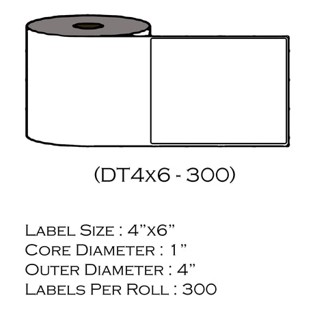 "4"" x 6""  (300 Labels/Roll)"