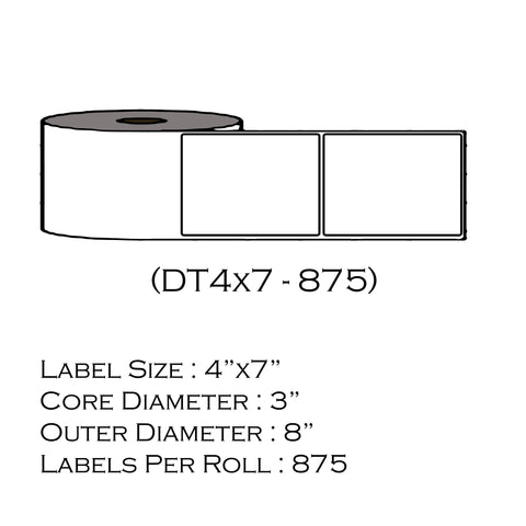 "4"" x 7"" 1"" Doc Tab (875 Labels/Roll)"