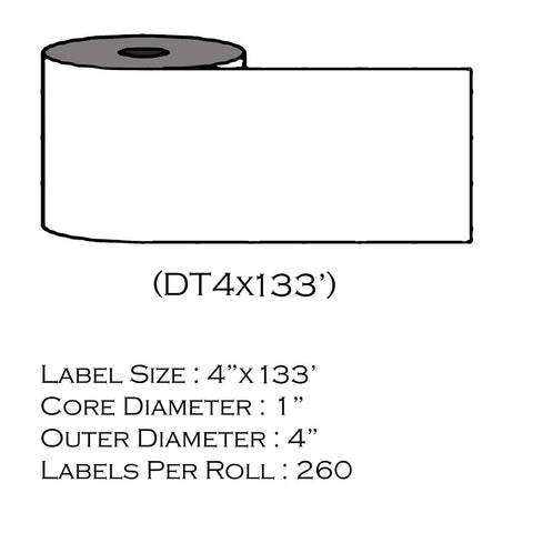 "4"" x 133' (260 Labels/Roll)"
