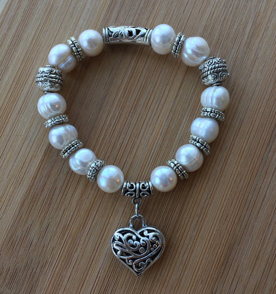 Sweetheart - Designer Handmade Natural Pearl Bracelet with Heart Charm