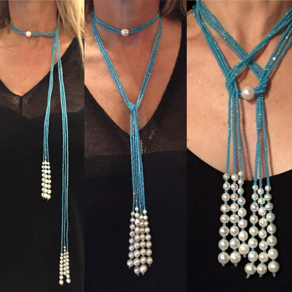 Aurora by Monya Flora - Versatile Handmade Crystal & Pearl Necklace,Lariat Necklace,Long Necklace