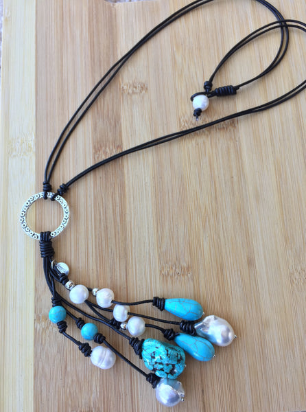 The Azores - Handmade Turquoise and Baroque Pearl Necklace,Pearl and Turquoise Necklace,Long Tassel Necklace,leather Necklace with pearls,leather necklace with turquoise,leather necklace with pearls and turquoise,boho necklace,minimalist necklace,simple necklace,turquoise jewelry,pearl jewelry,leather jewelry