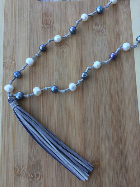 Handmade Pearls on Leather Tassel Necklace, Long Tassel Necklace, Pearls and Leather Necklace