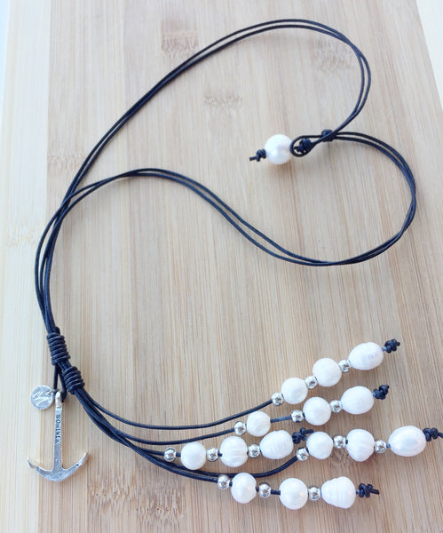 The Anchor,Handmade Leather Pearl Necklace,Real Pearl Necklace
