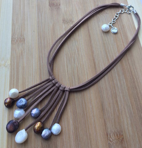 The Fountain - Natural Pearls on Suede Necklace,Boho Leather and Pearl Necklace,Fringe Necklace,Minimalist Style Necklace