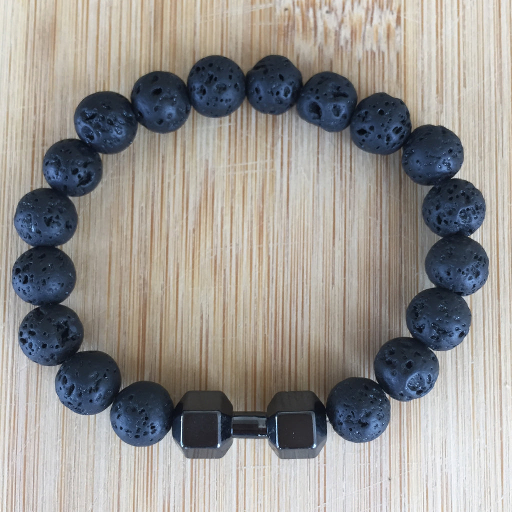 Handmade Stretch bracelet for men,dumbbell bracelet for women,lava stone bracelet