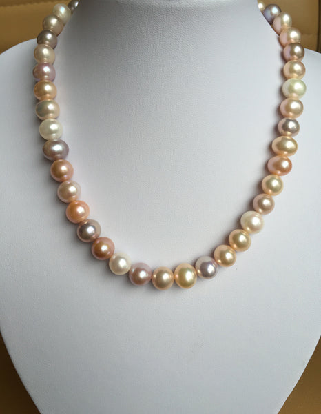Multicolor Cultured Pearl Necklace,genuine pearl strand,real pearl necklace