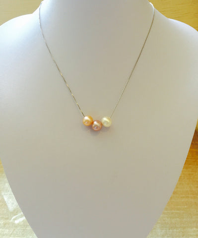 Shades of Pink Floating Pearls Necklace,pearl necklace,dainty necklace for women,simple pearl necklace,floating pearls on chain,silver chain with single pearl,three pearls on silver chain,genuine pearl necklace,sterling silver chain with three natural pearls by Monya Flora